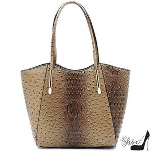 Veda Ostrich Tote and Clutch Set